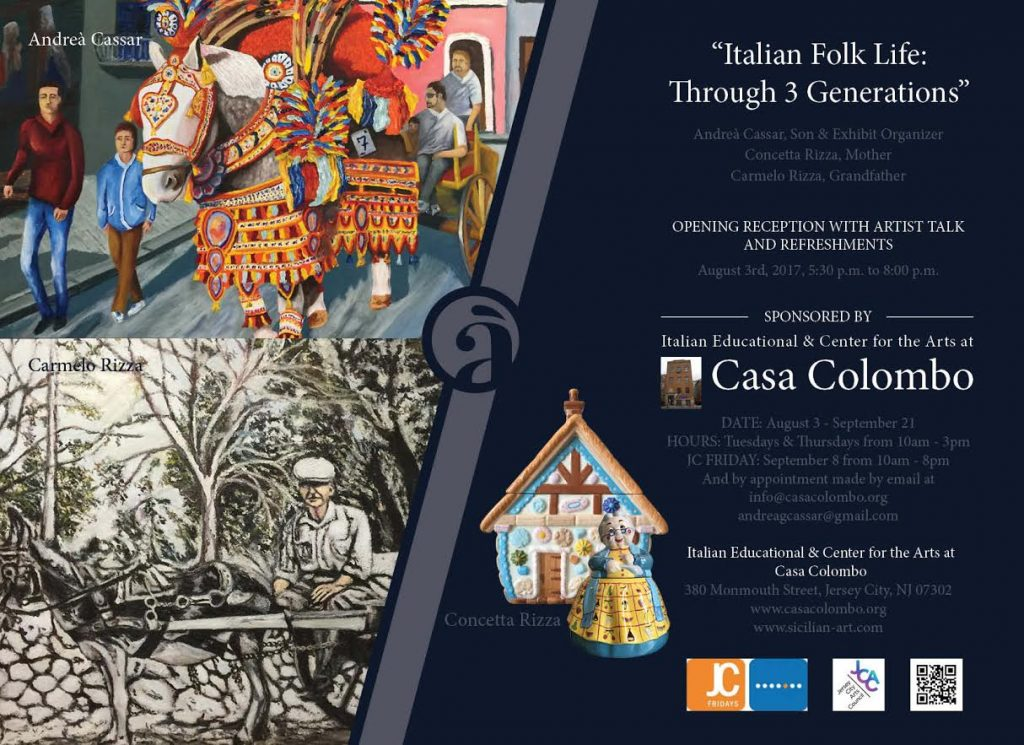 "Andrea Cassar's ""Italian Folk Life: Through 3 Generations"" @ Italian Educational & Center for the Arts at Casa Colombo 