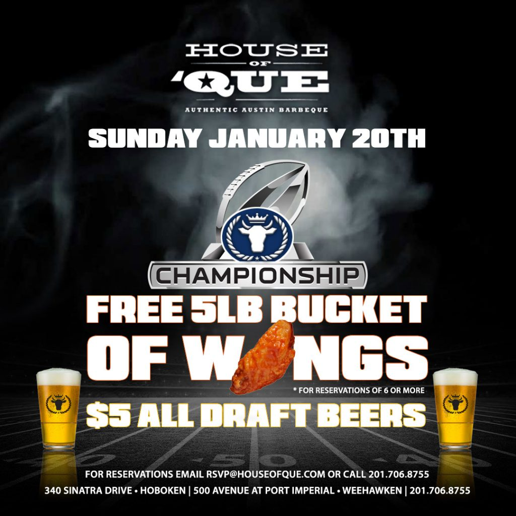 NFL Championship & Free Wings @ House of 'Que @ House of Que